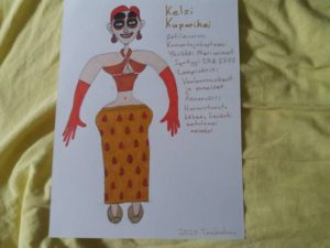 Värikäs piirustus mielikuvituksellisesta naishahmosta nimeltä Kelsi Kuparihai.