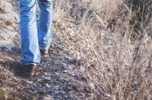 Henkilö kävelee luonnossa.