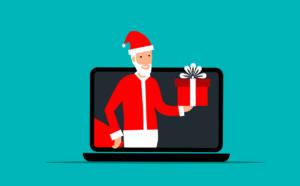 Joulupukki ja tietokone.
