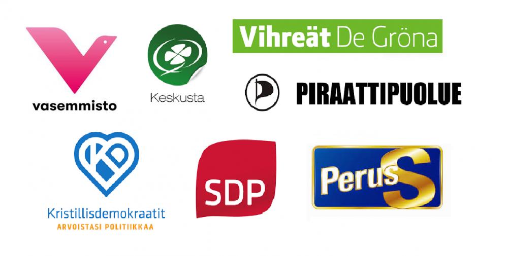 ASY:n vaalikeskusteluun osallistuneiden puolueiden logot