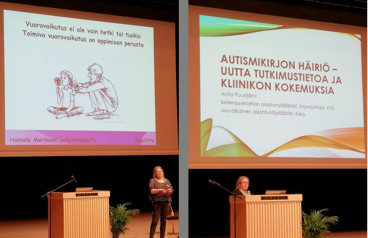 Autismin Talvipäivien luennoitsijoita: Hannele Merikoski (vas) ja Anita Puustjärvi (oik)